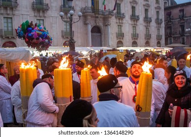 Catania, CT / Italy, 5 2 2017: Feast of Santa Agata. It is celebrated in honor of the patron saint of the city of Catania in Sicily. It is the third largest Catholic festival in the world.