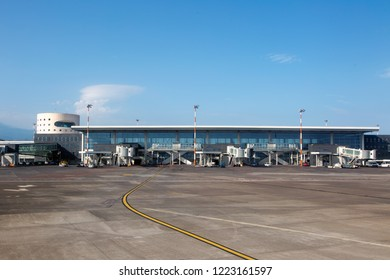 Catania International Airport, Sicily / Italy - 09.04.2018. Passengers terminal and airfield.