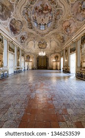 CATANIA, ITALY - 18 Jan 2019: Interiors of Palazzo Biscari in Catania, Italy, with the Sicilian Baroque ball room hall and reception hall.