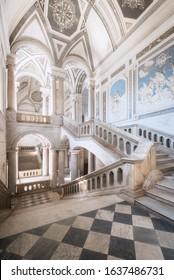 "Catania, Italy - April 13 2017. The stairs of the Benedictine monastery called in italian ""Monastero dei Benedettini"""