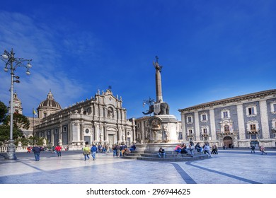 CATANIA, ITALY - APRIL 4: Piazza del Duomo in Catania with Cathedral of Santa Agatha on April 4, 2014 in Catania, Sicily, Italy. Catania founded in the 8th century BC