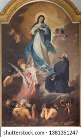 CATANIA, ITALY - APRIL 6, 2018: The painting of Virigin Mary and the souls in purgatory in church Chiesa di San Francesco d'Assisi all'Immacolata by Pasquale Lotta (1900).