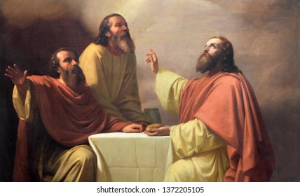 CATANIA, ITALY - APRIL 7, 2018: The detail of painting of Jesu supper with the disciples of Emmaus in church Chiesa di San Placido by Michele Rapisardi (1858).