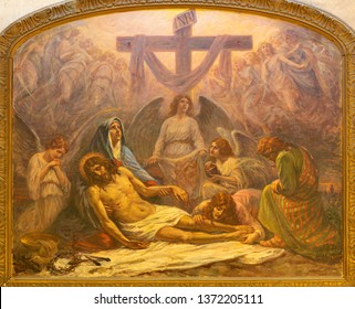 CATANIA, ITALY - APRIL 7, 2018: The painting of Deposition of the Cross (Pieta) in church Chiesa San Nicolo by Alessandro Abate (1927).