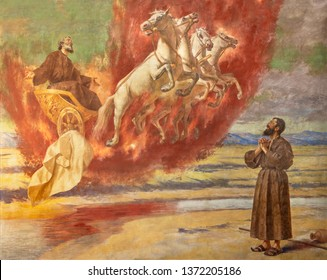 CATANIA, ITALY - APRIL 7, 2018: The fresco Prophet Elias ascending into Heaven in the chariot of fire in church Santuario della Madonna del Carmine by  Natale Attanasio (1898).