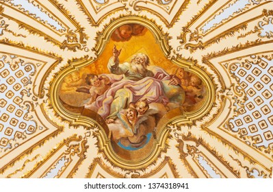 CATANIA, ITALY - APRIL 7, 2018: The ceiling fresco of God the Father in baroque church Chiesa di San Placido by G. B. Piparo (18. cen.)