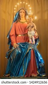 CATANIA, ITALY - APRIL 7, 2018: The carved statue of Madonna (Madonna del Parto) in church Chiesa di San Agostino by Leonardo Bracci (1820).