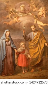 CATANIA, ITALY - APRIL 8, 2018: The painting of Holy Family in the church Chiesa di Sant'Agata la Vetere from end of 19. cent.