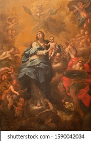 CATANIA, ITALY - APRIL 8, 2018: The painting of Madonna in the church Chiesa di Sant'Agata la Vetere by Paolo Ferro Vaccaro (1851).