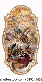 CATANIA, ITALY - AUGUST 17 2016: Baroque ceiling fresco in one of the rooms of the Benedictine Monastery of San Nicolo l'Arena in Catania, Sicily, Italy