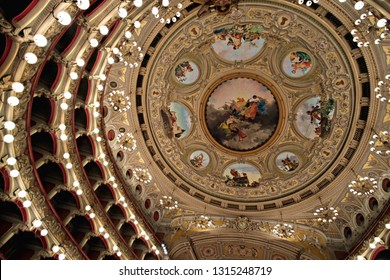 Catania / Italy - February 8 2019: interior view of the ceiling decorations of  Teatro Massimo dedicated to Vincenzo Bellini