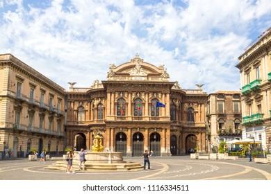 CATANIA, ITALY - MAY 14, 2018: Teatro Massimo Bellini on the Vincenzo Bellini square in Catania, Sicily