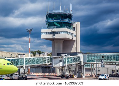 Catania, Italy - May 14, 2019: Control tower of Vincenzo Bellini - Fontanarossa Airport in Catania city on Sicily