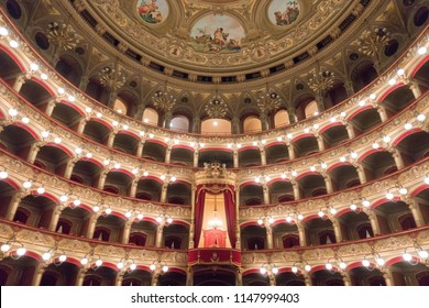 CATANIA, ITALY - May 19, 2018: Vincenzo Bellini Theater in Catania, Sicily, Italy. Teatro Massimo Bellini.