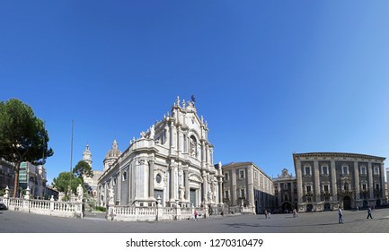 CATANIA, ITALY - MAY 6, 2018: Panoramic view of Cathedral Square (Piazza Duomo) and Cathedral of Santa Agatha (Catania Duomo) in Catania city, Sicily, Italy
