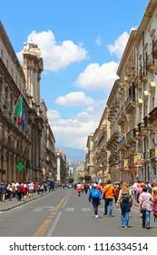 CATANIA, ITALY - MAY 8, 2018: People walk on Via Etnea central street of Catania