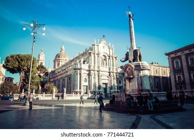 CATANIA, ITALY - NOVEMBER 28, 2017: Piazza del Duomo in Catania with the Cathedral of Santa Agatha in Catania in Sicily, Italy.