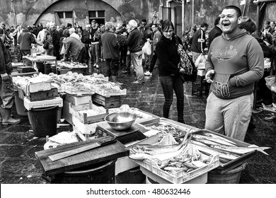 Catania, Italy - October 23, 2015: Catania, typical of the Sicilian fish market, Italy.  the historic fish market of Catania is today one of the tourist attractions of the city,