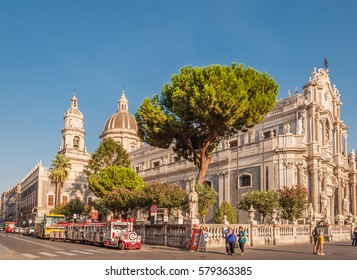 CATANIA, ITALY - SEP 13, 2015: Piazza Duomo or Cathedral Square with Cathedral of Santa Agatha or Catania duomo in Catania in Sicily, Italy