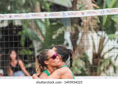 Catania, Italy, September 01 2019 abbraccio vittoria lantignotti michela michieletto francesca during Coppa Italy Women 2019 - Semifinals Beach Volley