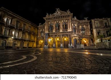 CATANIA, ITALY - September 7, 2017: theater on Piazza Vincenzo Bellini in Catania, Sicily, Italy. Teatro Massimo Bellini is an opera house, (Architect Carlo Sada 1880)