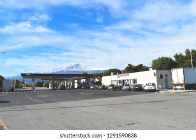 Catania, Italy/Etna mount - January 2019: View of Mount Etna from an AUTOGRILL service station.