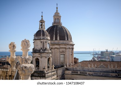 Catania's Cathedral of Sant'Agata in the city centre of the Sicilian town, Italy. Seen from the terrace of the church nearby.