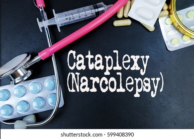 Cataplexy (Narcolepsy) word, medical term word with medical concepts in blackboard and medical equipment