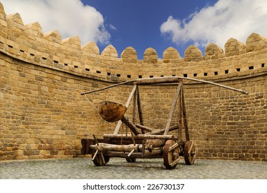 catapult wooden Turkish Mancinik in city wall Icheri Sheher (Old Town) of Baku Azerbaijan