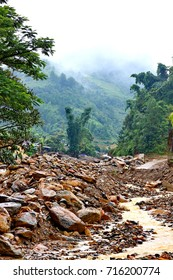 the cataract ,the damage of area from water flood on  mountain after heavy rain ,storm