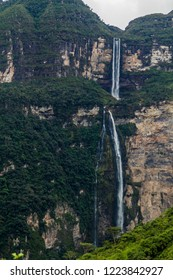 Catarata de Gocta, one of the highest waterfalls in the world (771 m in two parts), northern Peru.