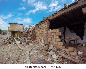 The Catastrophic April 16Th Earthquake That Destroyed Buildings In Ecuador, South America