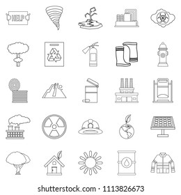 Catastrophic event icons set. Outline set of 25 catastrophic event icons for web isolated on white background