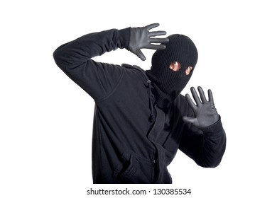 Catch the burglar concept, thief with balaclava caught, isolated on white background