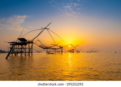 The catch fish of fishermen at dawn in the south, thailand
