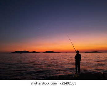 catch a fish silhouette
