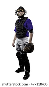 Catcher Baseball Player with a blue uniform on a black background. uniform on a white background.
