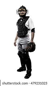 Catcher Baseball Player with a white uniform on a white background.