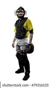 Catcher Baseball Player with a yellow uniform on a white background.