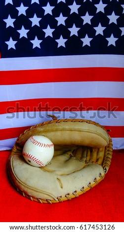 Catchers Mitt Baseball American Flag Background Stock Photo (Edit ... e64587a5d