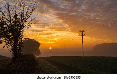 Catching the dawn sunrise in late October along Parish lane in Pease Pottage West Sussex