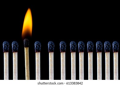 Catching fire and burning despite all others are already burnt, safety matches, don't give up even if everyone else failed, there is always a hope and chance