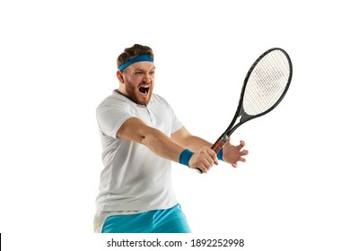 Catching. Highly tensioned game. Funny emotions of professional tennis player isolated on white studio background. Excitement in game, human emotions, facial expression and passion with sport concept.