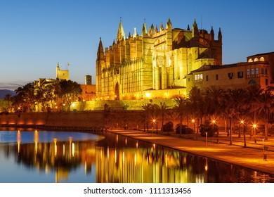 Catedral de Palma de Mallorca Majorca church Cathedral copyspace night Spain travel traveling tourism