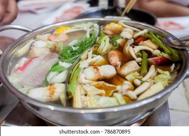 category of foods hot pot .Food on Electric stove.  