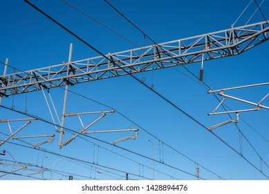 Catenary of an electric train.