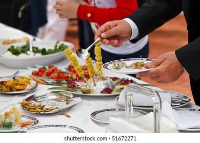Catering buffet food in a luxury italian restaurant