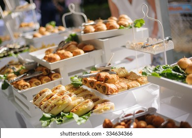 Catering buffet table with a delicious food