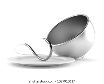 Catering dome with fishing hook isolated on white background. 3d illustration