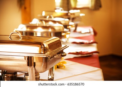 Catering food. chafing dishes in line